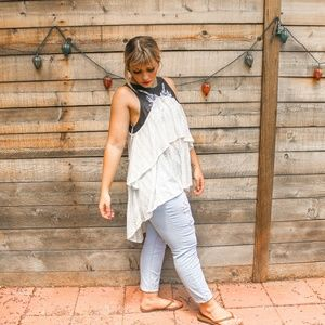Free People boho leather and lace white top